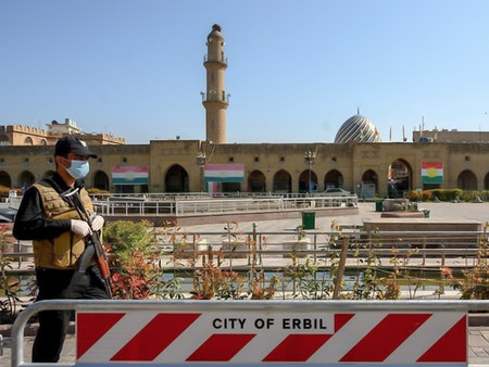 A man stands guard at Erbil's deserted Shar park Photo: Bilind T. Abdullah/Rudaw