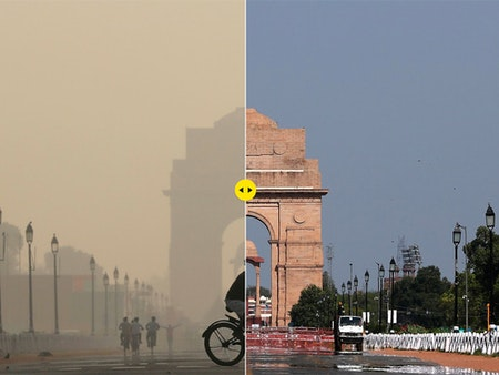 New Delihi's India Gate war memorial on 17 October 2019 and on 8 April 2020. Photograph: Anushree Fadnavis/Adnan Abidi/Reuters