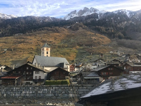 Swiss mountain village Vals with its signature steeple