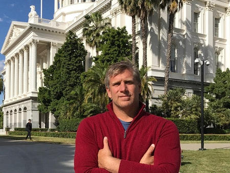 Zoltan Istvan in front of the capitol