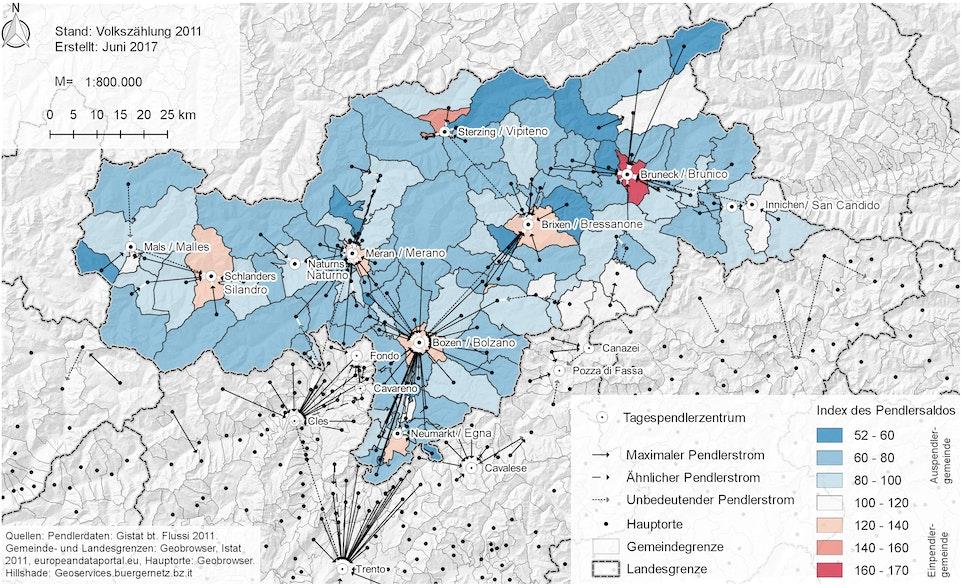 Tagespendlerzentren und maximale Pendlerströme in Südtirol 2011