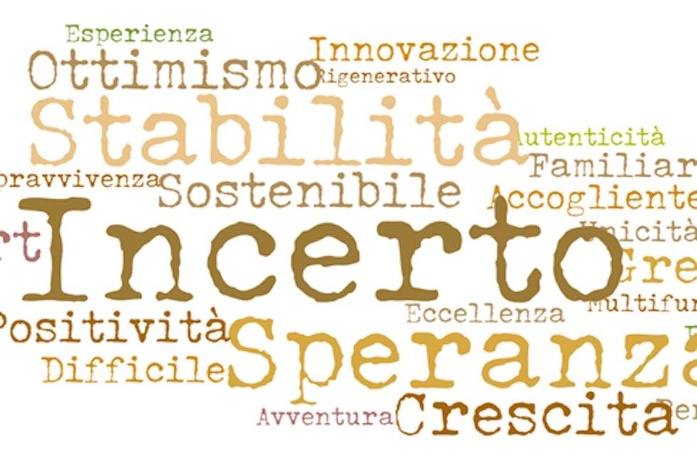 Le parole più ricorrenti nella descrizione del futuro dell'agriturismo (ISMEA 2020)